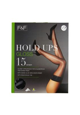 F&F 2 Pack of Gloss 15 Denier Hold-Ups with Lycra® S/M Black