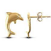 Jewelco London 9ct Yellow Gold polished smiling Dolphin Studs