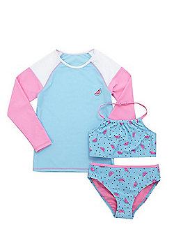 F&F Watermelon Sun Safe UPF50+ Rash Top and Bikini Set - Turquoise & Pink