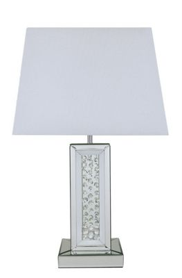 White Mirror Astoria Table Lamp With Rectangular 17 Inch White Shade