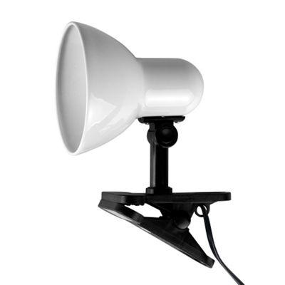 Tasca Adjustable Clip On Table Spotlight Lamp, Gloss White
