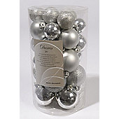 Shatterproof Mixed 30 Chrismas Baubles - Silver- Various Sizes