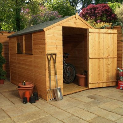 8 x 6 Sutton Tongue & Groove Apex Shed With Large Door Garden Wooden Shed 8ft x 6ft (2.44m x 1.83m)