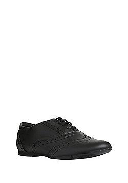 F&F Leather School Brogues - Black