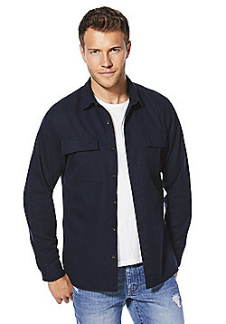 F&F Chest Pocket Military Style Overshirt - Navy