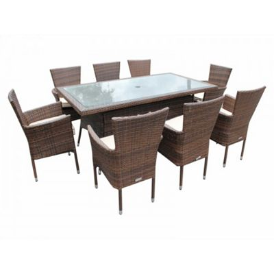Cambridge 8 Non-Reclining Chairs And Large Rectangular Table Set in Chocolate Mix and Coffee Cream