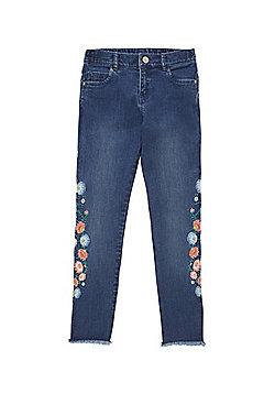 F&F Embroidered Frayed Hem Skinny Jeans - Mid wash