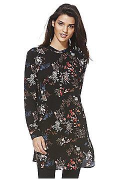 Jacqueline De Yong Floral Long Line Shirt - Black