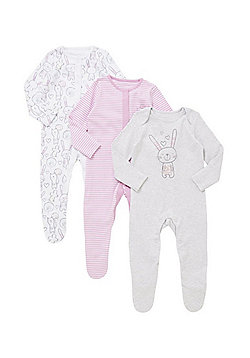 F&F 3 Pack of Bunny Print Sleepsuits - Pink