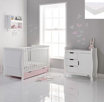 Obaby Stamford 2 Piece + Sprung Mattress Nursery Room Set - White/Pink