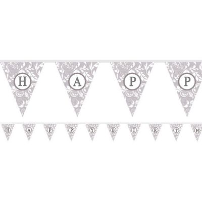 Personalised Alphabet & Number Bunting - Silver - 7.9m