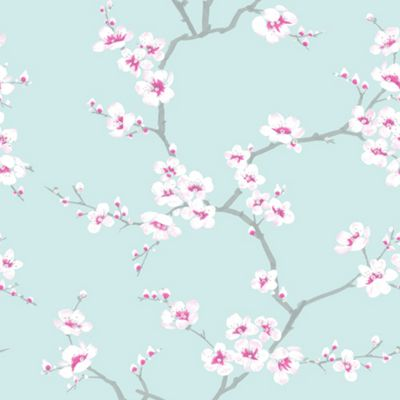 Fresco Apple Blossom Tree Teal Wallpaper
