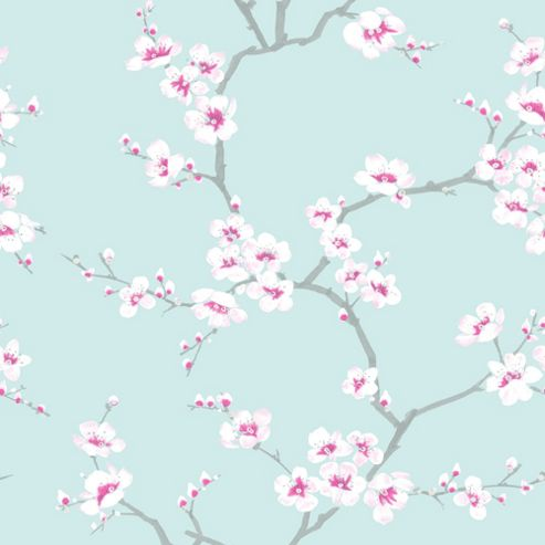 Fresco Apple Blossom Floral Teal Wallpaper