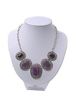 Silver Plated Amethyst Stone Necklace - 40cm Length/ 7cm Extension