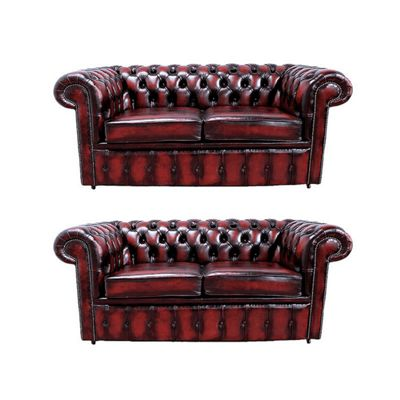 Chesterfield 2+2 Leather Sofa antique Oxblood