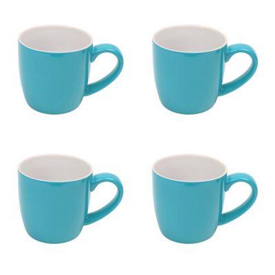 London Pottery Ceramic Mug Cup in Aqua 340ml Set of 4