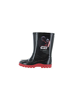 Boys Star Wars The Last Jedi Black & Red Wellies Rain Boots Sizes UK Infant 7-1 - Black