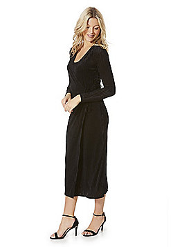 Vila Velveteen Striped Wrap Midi Dress - Black
