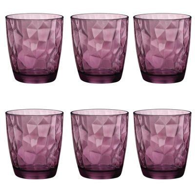 Bormioli Rocco Diamond Dimpled Double Old Fashioned Tumblers - Rock Purple - 390ml - Pack of 6