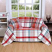 Homescapes Red Tartan 100% Cotton Falun Throw with Tassels, 150 x 200 cm