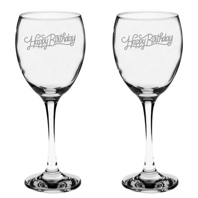 Argon Tableware Engraved Red Wine Glasses - Happy Birthday - 340ml - Pack of 2