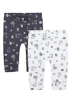 F&F 2 Pack of Llama Cuffed Trousers - Grey