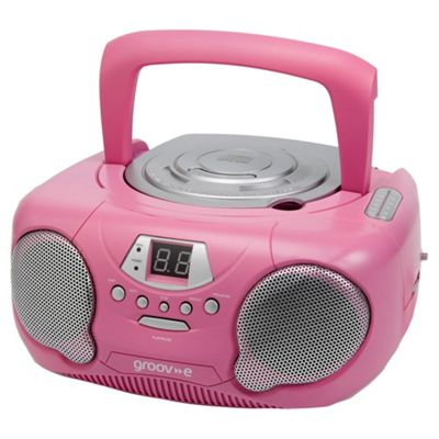 Groov-E Boombox Portable CD Player with AM/FM Radio - Pink