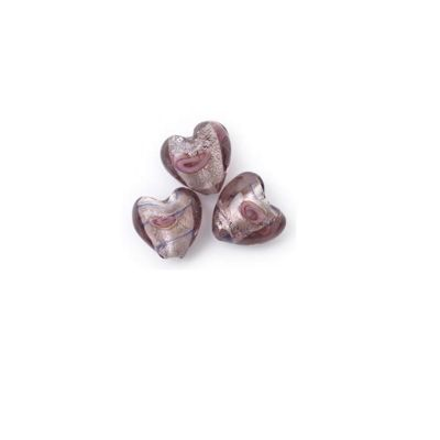 Craft Factory Glass Rose Heart pk3 20mm Lilac and Blue