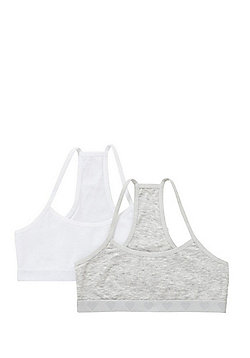 F&F 2 Pack of Heart Jacquard Racerback Crop Tops with As New Technology - White & Grey