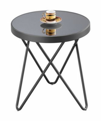 2e47ff1e0ae Puccini Gl Round Side Coffee Table Grey From Our Lamp