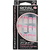 Royal 24 Glue-On Pastel French Manicure Nail Tips-Pink