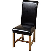 x2 Washington Braced Frame Black Leather Dining Chairs