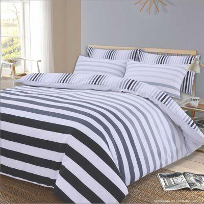 Dreamscene Duvet Cover Bedding Set, Fade Stripe Grey Black White - Single