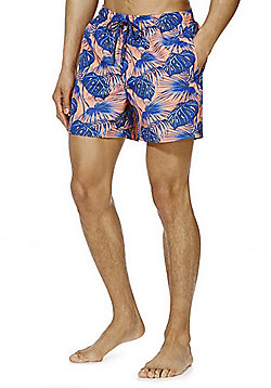 F&F Leaf Print Mid Length Swim Shorts - Coral