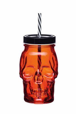 KitchenCraft Spookily Does It Novelty Spooky Skull Glass Drinks Jar Mug with Straw