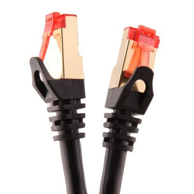 Duronic Black 10m CAT6a FTP Gold Headed Shielded Network Cable