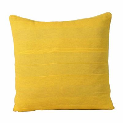 Homescapes Cotton Rajput Ribbed Tangerine Orange Yellow Cushion Cover, 60 x 60 cm