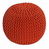 Homescapes Cotton Orange Knitted Pouffe Footstool