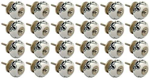 Ceramic Cupboard Drawer Knobs - Floral Design - Black / White Flower - Pack Of 24