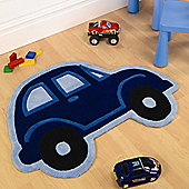 Blue Car Shaped Rug 80 x 100 cm