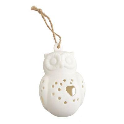 White Bisque Owl Christmas Tree Decoration