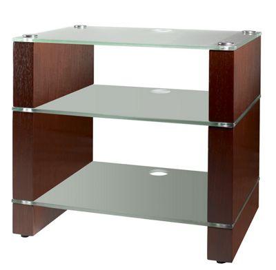 Blok BKW-353 Walnut 3 shelf rack with Sandblasted Glass