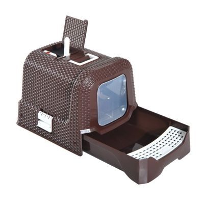 PawHut Cat Litter Box with Scoop 54L × 42W × 41H cm (Coffee)