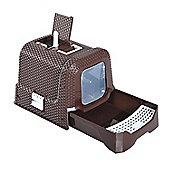 PawHut Cat Litter Box with Scoop 54L × 42W × 41H cm (Coffee)