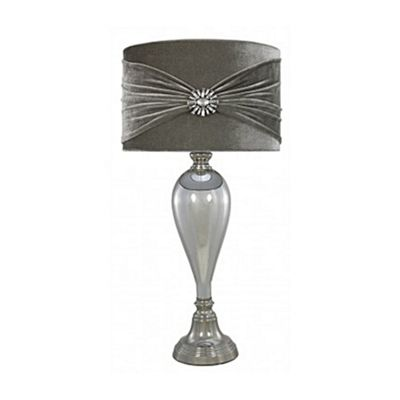 Chrome glass classical table lamp with grey velvet and crystal shade