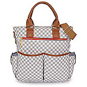 Babetta Baby Changing Bag Lightweight Satchel With Shoulder Strap + Changing Mat - Grey Check