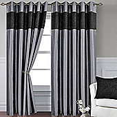 Black, Grey, Silver Eyelet Curtains 72s and Set of 4 Cushion Covers - Venice