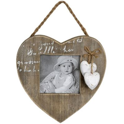 Heart - Solid Wood Hanging Square Photo Frame - Natural