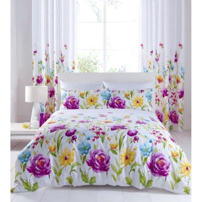 Catherine Lansfield Home Designer Collection Floral Bloom Single Bed Cotton Rich Duvet Cover Set