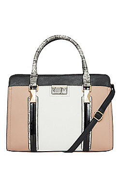 F&F Faux Snakeskin Trim Tote Bag with Detachable Cross-Body Strap